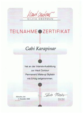Teilnahmezertifikat Haut Contour Permanent-Make-up-Stylistin