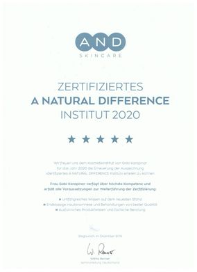 "Zertifikat ""zertifiziertes A Natural Difference Institut 2020"""